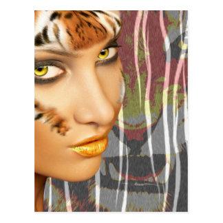 Arte femenino de Therian del tigre de Otherkin, ma Tarjetas Postales