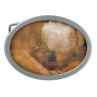 Arte ferroviario británico III del tren del vapor Hebilla De Cinturon Oval