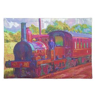 Arte ferroviario locomotor del entusiasta del tren manteles individuales