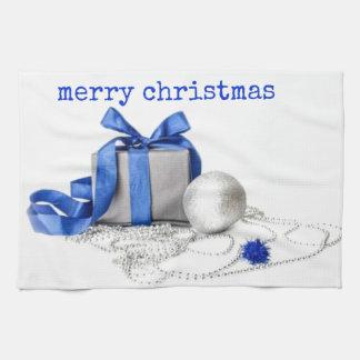Arte festivo azul y de plata toalla de cocina