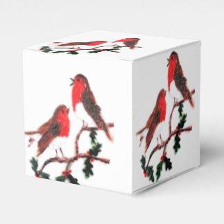 Arte festivo del petirrojo del acebo caja para regalos
