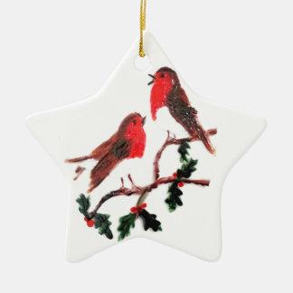 Arte festivo del petirrojo del acebo ornamentos de navidad