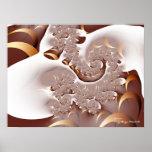 Arte fino abstracto fresco del fractal de Crema Póster