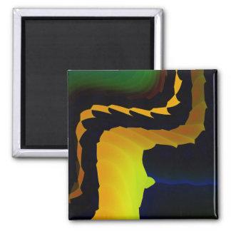 Arte fino abstracto fresco del fractal del horno imán cuadrado