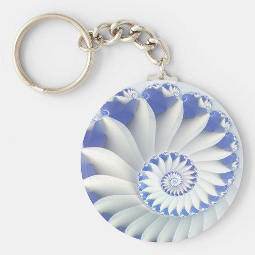 Arte fino hermoso del fractal de Shell del mar Llavero Redondo Tipo Pin