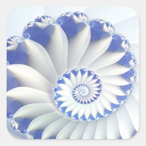 Arte fino hermoso del fractal de Shell del mar Pegatina Cuadrada