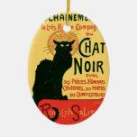 Arte fino Nouveau del vintage de Le Chat Noir Adorno Navideño Ovalado De Cerámica