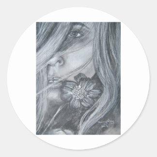 Arte Flor-Original por el jerez Wray Pegatina Redonda