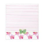 Arte floral alineado mariposa verde del rosa de la blocs de notas