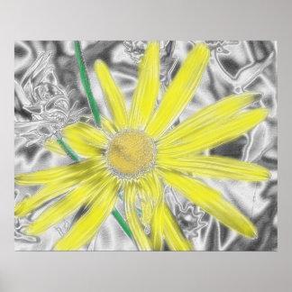 Arte floral amarillo póster