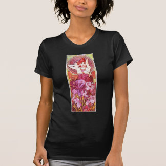Arte floral Amethyst Nouveau del vintage de Camiseta