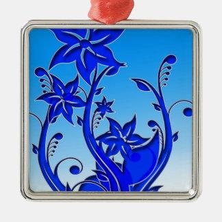 Arte floral azul ornamento de navidad