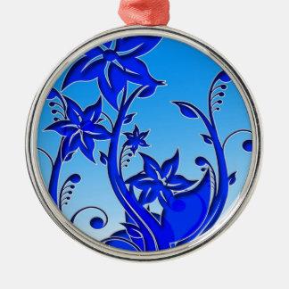 Arte floral azul ornamento para arbol de navidad