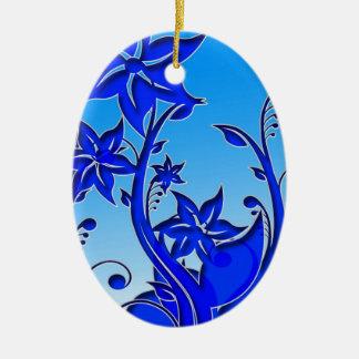 Arte floral azul adorno