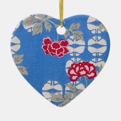Arte floral azul del vintage adorno navideño de cerámica en forma de corazón