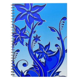 Arte floral azul cuadernos