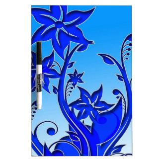 Arte floral azul tableros blancos