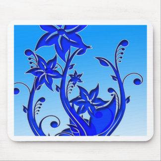 Arte floral azul tapetes de ratón