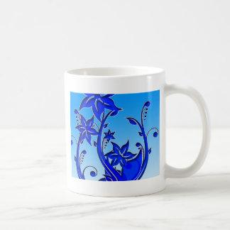 Arte floral azul tazas de café
