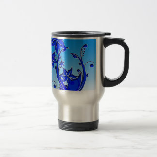 Arte floral azul taza