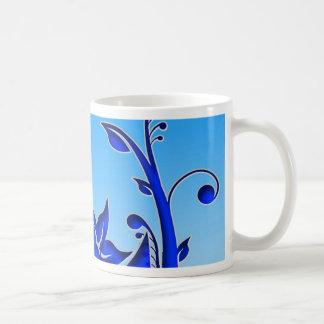 Arte floral azul tazas