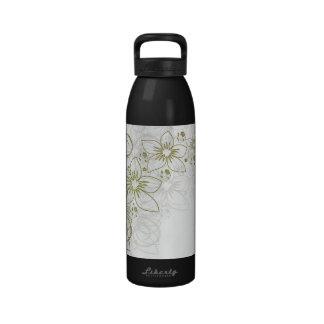 Arte floral blanco botella de agua reutilizable
