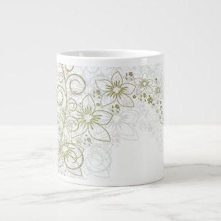 Arte floral blanco tazas extra grande