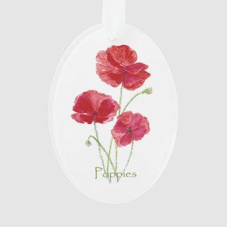 Arte floral bonito de la flor roja de la amapola