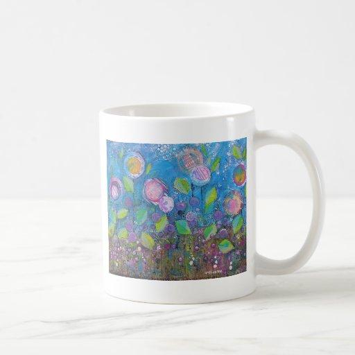 "Arte floral caprichoso - ""prospere "" taza básica blanca"