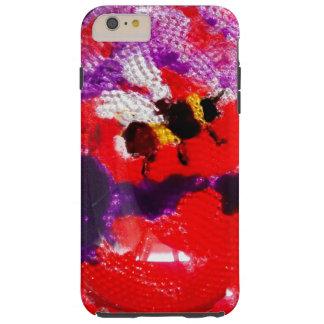 Arte floral de la abeja de la flor funda para iPhone 6 plus tough