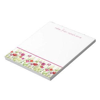 Arte floral de la amapola de la flor de la acuarel blocs de notas