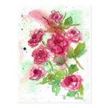 Arte floral de la flor de la acuarela color de ros tarjetas postales