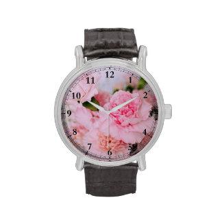 Arte floral de la foto del rosa del estilo del relojes