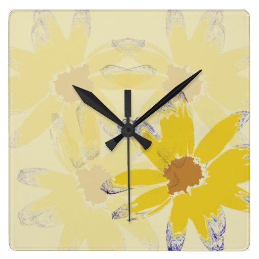Arte floral de la margarita amarilla relojes