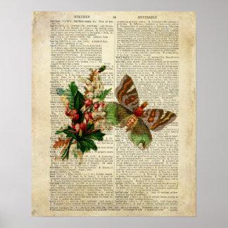 Arte floral de la mariposa en la página del diccio posters