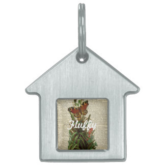 Arte floral de la mariposa en la página del placa mascota