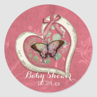 Arte floral de la niña de la mariposa del vintage pegatina redonda