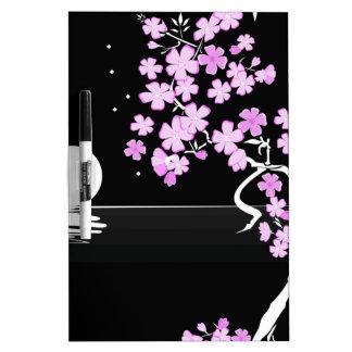 Arte floral de la pintura pizarra blanca