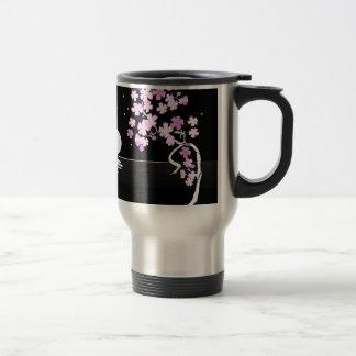 Arte floral de la pintura taza de café