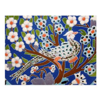Arte floral de la teja del pavo real tarjetas postales
