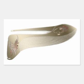 Arte floral de oro del zapato del tacón alto del rectangular pegatina