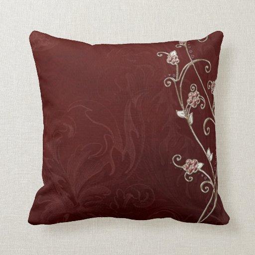 Arte floral del damasco cojín