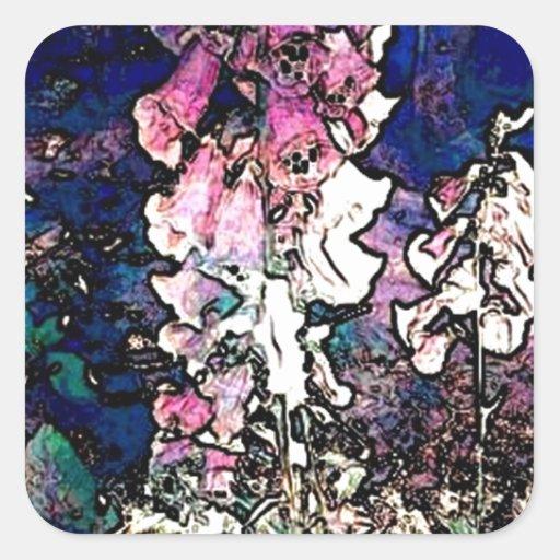 Arte floral del Foxglove de lujo Pegatina Cuadrada