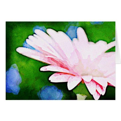 Arte floral del Gerbera rosado Felicitación