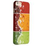 arte floral del remolino en fondo rojo, funda de iPhone 6 plus barely there