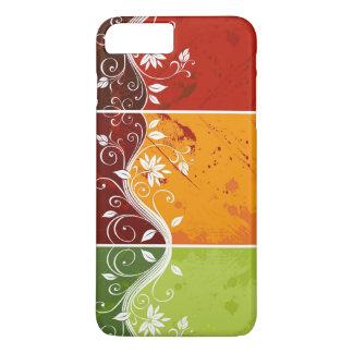 arte floral del remolino en fondo rojo, funda iPhone 7 plus