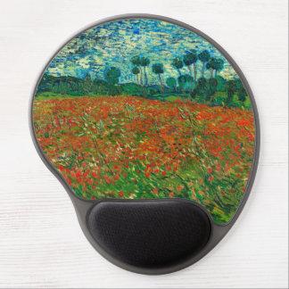 Arte floral del vintage del campo de la amapola de alfombrilla gel