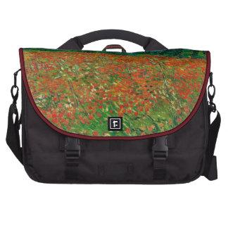 Arte floral del vintage del campo de la amapola de bolsas para portatil