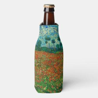 Arte floral del vintage del campo de la amapola de enfriador de botellas