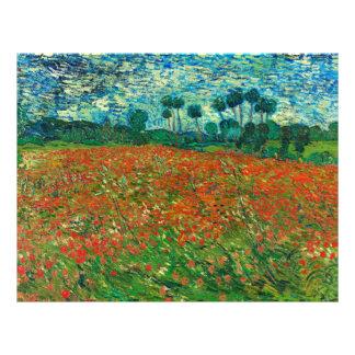 Arte floral del vintage del campo de la amapola de folleto 21,6 x 28 cm